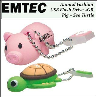 Emtec Animal Fashion USB Flash Drive 4GB Pig   EKMMD4GM319 + Emtec Animal USB Flash Drive 4GB Sea Turtle Computers & Accessories