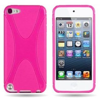 CoverON(TM) Flexible HOT PINK TPU Soft Cover Case with X SHAPE Design APPLE IPOD TOUCH 5 [WCM331] Cell Phones & Accessories