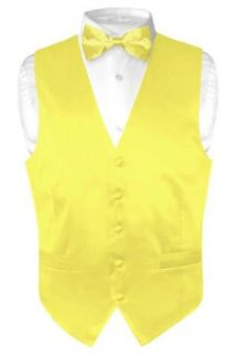 Biagio Men's Solid YELLOW SILK Dress Vest Bow Tie Set for Suit or Tuxedo at  Men�s Clothing store