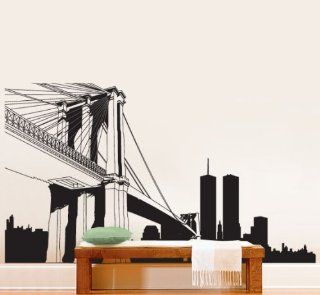 Vinyl Wall Art Decal Sticker NYC Brooklyn Bridge World Trade Center BIG 12ft Long x 7ft Tall #334   Wall Decor Stickers