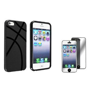 eForCity Black Basketball Shape TPU rubber Case with FREE Mirror Screen Protector compatible with the NEW Apple® iPhone® 5 / 5S Cell Phones & Accessories