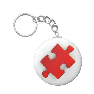 3D Puzzle Piece (Metallic Red) Keychain