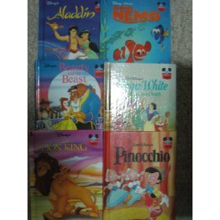 Six Disney Wonderful World of Reading Hard Cover Books (Aladdin; Finding Nemo; Beauty and the Beast; Snow White; Pinocchio; The Lion King) (Disney's Wonderful World of Reading) Walt Disney Productions Books