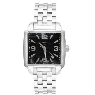 Tissot Men's T0055101105700 Quadrato Stainless Steel Black Dial Watch Tissot Watches