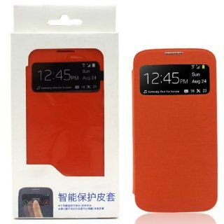 S View Smart Wake Window View PU Flip Cover Case Folio for Samsung Galaxy S4 i9500 (Orange) Cell Phones & Accessories