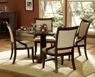Shop 5pc Dining Set Round Glass Top Table in Dark Cherry at the  Furniture Store. Find the latest styles with the lowest prices from Homelegance