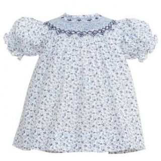 Carriage Boutique Little Girl 6X Navy Light Blue Floral Smocked Dress Carriage Boutique Clothing