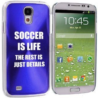 Blue Samsung Galaxy S4 S IV i9500 Aluminum Plated Hard Back Case Cover KK705 Soccer Is Life Cell Phones & Accessories