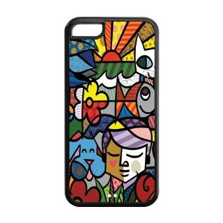 Mystic Zone Custom Colorful Cartoon Romero Britto Cover Case for Apple iPhone 5C  (Black and White)  MZ5C00024 Cell Phones & Accessories