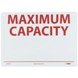 "NMC M355RB Restricted Area Sign, Legend ""MAXIMUM CAPACITY"", 14"" Length x 10"" Height, Rigid Plastic, Red on White Industrial Warning Signs"
