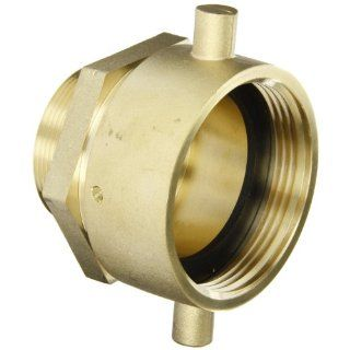 "Moon 363 2522061 Brass Fire Hose Adapter, Pin Lug Swivel, 2 1/2"" NH Swivel Female x 2"" NPT Male Plumbing Hoses"