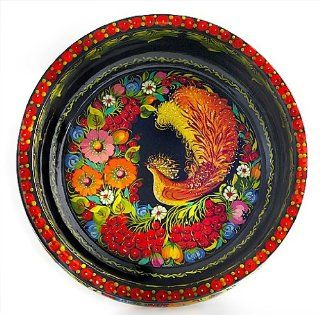 Ukrainian Petrykivka Decorative Collectible Wood Lacquer Painted Candy Bowl 11.5""