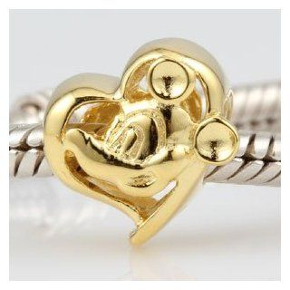 Everbling Love Mouse Like Mickey Heart Authentic 925 Sterling Silver Charm Fits Pandora Chamilia Biagi Troll Beads Europen Style Bracelets Jewelry