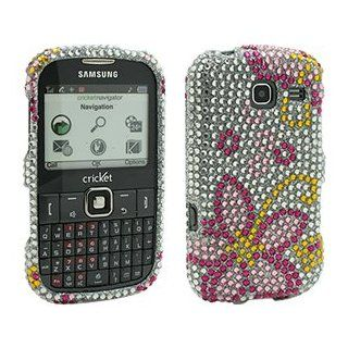 Premium Pink Flower Jewel Snap On Cover for Samsung FREEFORM III SCH R380 Cell Phones & Accessories
