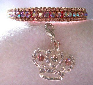 "~Prissy Pink Aurora~3/8"" Crystal Rhinestone Pet Dog Cat Collar Small #376"