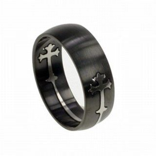 Black Stainless Steel Men's Ring with Silver Christian Cross   Stainless Steel Men's Cross Ring Right Hand Rings Jewelry