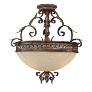 Capital Lighting 3543DS Semi Flush Mount with Rust Scavo Glass Shades, Dark Spice Finish   Semi Flush Mount Ceiling Light Fixtures