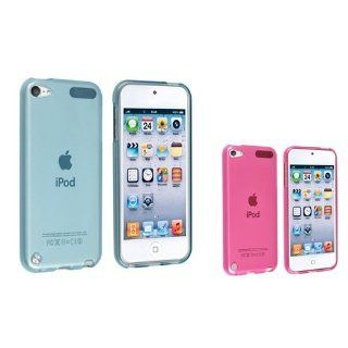 eForCity 2 x TPU Rubber Skin Case ( Clear Light Blue / Clear Hot Pink ) Compatible with Apple� iPod touch� 5th Generation   Players & Accessories
