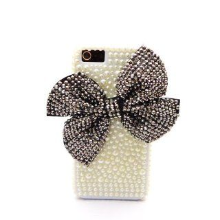 xhorizon Handmade White Faux Pearl Rhinestone Silver Black Bow Bling Case Cover for iPhone 5 5S Cell Phones & Accessories