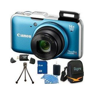 "Canon Powershot SX230 HS Digital Camera (Blue) 12.1MP CMOS Sensor, 14x 28 392mm Super Telephoto Zoom Lens, Built In GPS, 3"" High Resolution LCD Monitor. Kit Includes 8 GB Memory Card, Card Reader, Carrying Case, Mini Tripod, and More.  Digital Slr Ca"