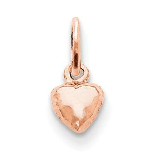 14k Rose gold Rose Gold Solid Polished 3 Dimensional Small Heart Charm Jewelry