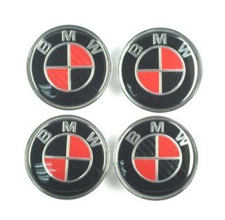 4X 68mm Carbon Fiber Wheel Center Caps for BMW Logo Red/Black  Automotive Electronic Security Products