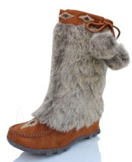 Womens Mukluk Fur Suede Mocassin Flat Boots British Tan Soda Sku size 5.5 10 55 Shoes