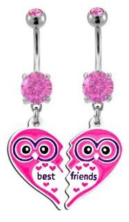 Pink Owl Heart Best Friend dangle set Belly Ring   316L Implant Grade Surgical Steel 14g 14 gauge  Sold as a Set Jewelry