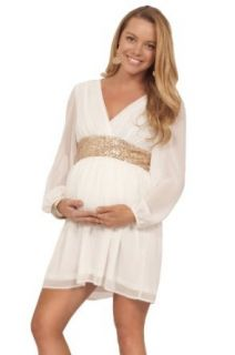 Maternity Pregnant Long Sheer Sleeve Gold Sequin Empire Waist Bridesmaid Dress