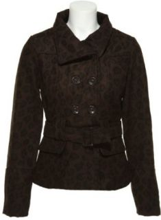 DOLLHOUSE Belted Leopard Print Wool Blend Jacket [6775F], BROWN LEOPARD, SMALL Wool Outerwear Coats