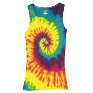 Tie Dye T shirt   Tank Top   100% Cotton   Reactive Rainbow (Adult X Large) Clothing