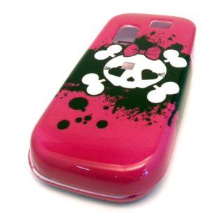 Samsung T404g Cute Pink Emo Rocker Skull Teen Design HARD Case Skin Cover Straight Talk NET 10 Tracfone Cell Phones & Accessories