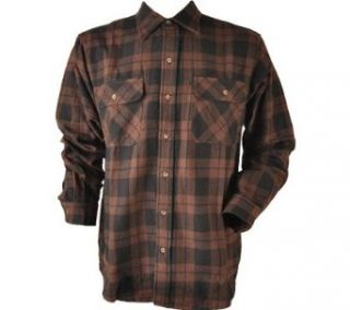 Kilimanjaro Men's Brawny Flannel Tall Long Sleeve Shirt, Brown/Black, L US at  Men�s Clothing store Button Down Shirts