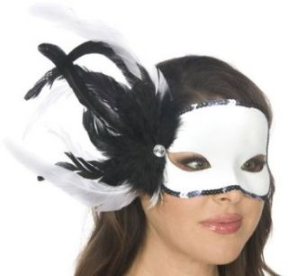 Adult Black and White Feather Carnival Eye Mask Clothing