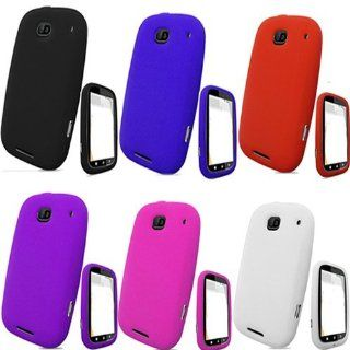 iNcido Brand Motorola Bravo MB520 Combo Black + Dark Blue + Hot Pink + Purple + Red + White Silicon Skin Case Faceplate Cover for Motorola Bravo MB520 Cell Phones & Accessories