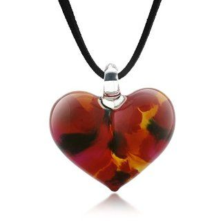 Hand Blown Venetian Murano Glass Wild Flower Red Yellow Black Heart Shaped Necklace 18'' 20'' Chuvora Jewelry