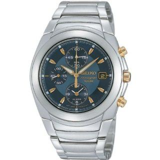 Seiko #SNA423 Men's Stainless Steel Blue Dial Alarm Chronograph Watch Watches