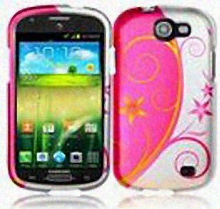 Blue Yellow Flower Swirl Hard Cover Case for Samsung Galaxy Express SGH I437 Cell Phones & Accessories