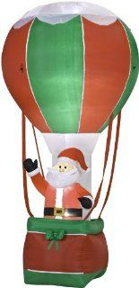 12' Tall x 6' Wide Airblown Santa in Hot Air Balloon Christmas Inflatable   Christmas Decor