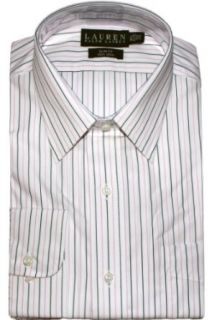 "Lauren Ralph Lauren Slim Fit Bennett Striped Non Iron Dress Shirt (17"" Neck 34/35, White/Pink/Black) at  Men�s Clothing store"