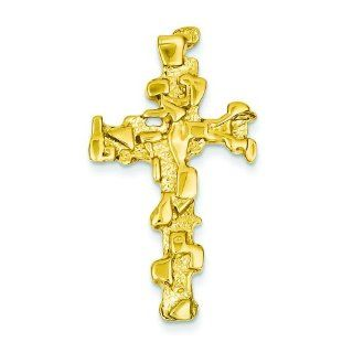 14K Yellow Gold Nugget Cross Charm Pendant Jewelry Jewelry