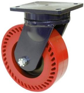 "RWM Casters 95 Series Plate Caster, Swivel, Kingpinless, Heavy Duty Forged Steel Wheel, Tapered Roller Bearing, 20000 lbs Capacity, 8"" Wheel Dia, 4"" Wheel Width, 10 1/2"" Mount Height, 7 1/2"" Plate Length, 6 1/4"" Plate Width Indust"