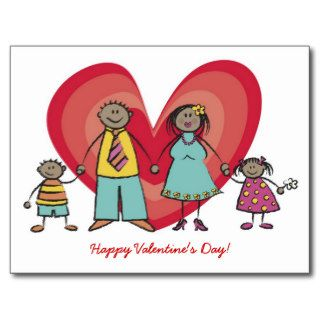 Cute Cartoon Fun Happy Family Love Heart Valentine Postcard