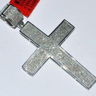 1.3ct Real Diamond cross Pendant White Gold Finish Silver 46mm big Mens new Jewelry