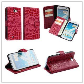 Rose Red Alligator Pattern Faux Leather Case Cover for Samsung Galaxy Note 2 II N7100 Cell Phones & Accessories