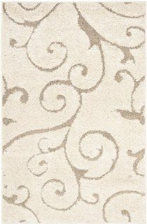 Safavieh Florida Shag Collection SG455 1113 Cream and Beige Shag Area Rug, 4 Feet by 6 Feet