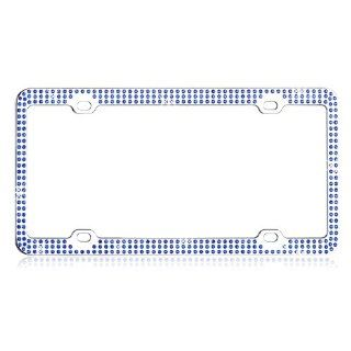 Car Automotive License Plate Frame Chrome Coating Metal Painting Finish with Triple Row Blue 474 Diamonds Crystals Rhinestones Bling  License Plate Amsun