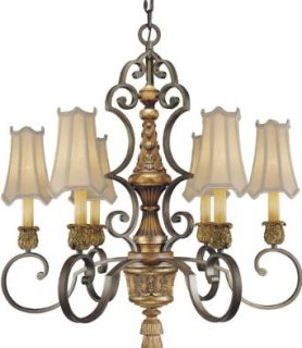 "Metropolitan N6006 476 Six Light 31"" Diameter Chandelier from the Habana Nights Collection, Habana Night with Gold Leaf"