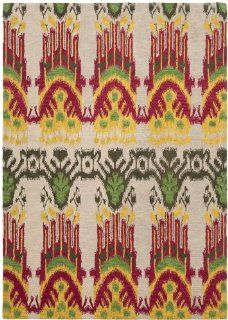 Safavieh Ikat Collection IKT464A Area Rug, 4 by 6 Feet, Beige and Yellow   Round Rug Yellow