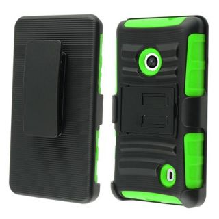 INSTEN For Nokia Lumia 521 Side Stand Case With Holster Black/Neon Green Accessories